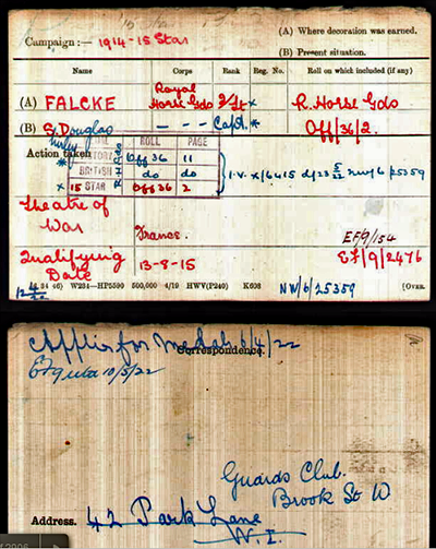 Shirley Douglas Falcke WW1 medal card