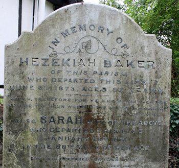 Monument detail for Hezekiah and Sara Baker