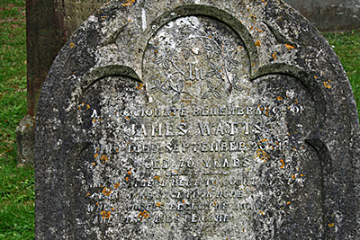 Detail of Headstone for James Watts