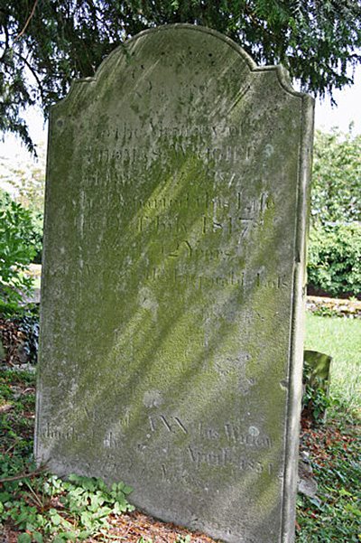 Reverse of the headstone for THomas and Ann Wright