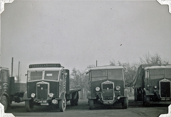 Ferrell and Baker front view of lorries