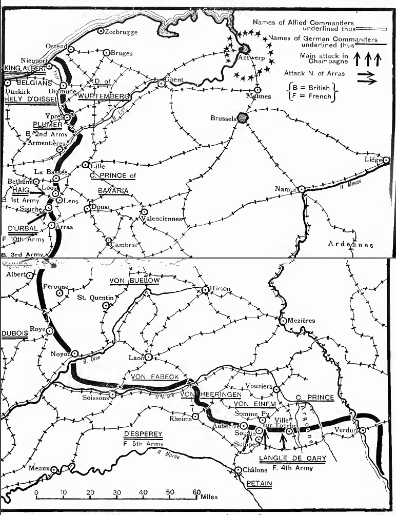 Map of opposing forces in 1915