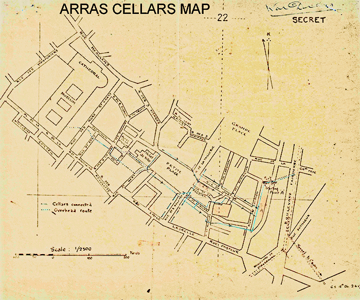 1917 Cellar Map for Arras