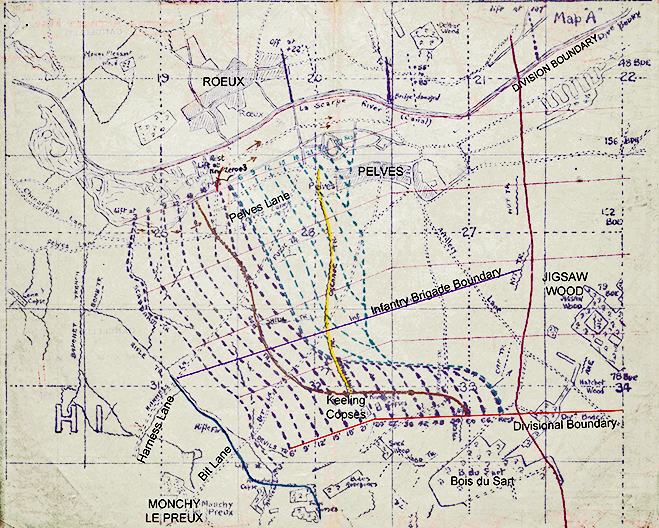 Brigade Dispositions at Pelves - April 1917