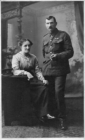 Alfred Feaver in uniform with wife Sarah