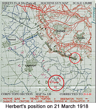 Map of the area around Queant machine gun emplacements