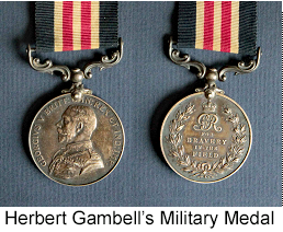 Military Medal awarded to Herbert Gambell