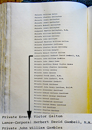 Herbert's entry in the Machine Gunners Book of Remembrance