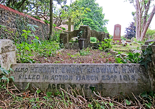 Herbert Ewart Kadwill Remembered on parents' stone in Lynsted Extension Cemetery