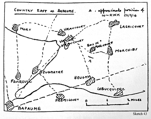 Sketch Map around Bapaume 23rd March 1918