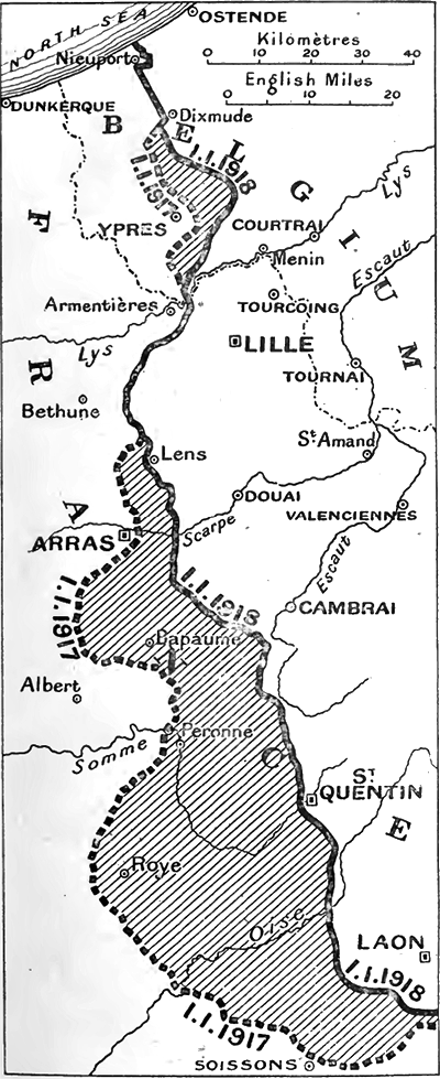 Map of the Western Front in stasis from 1917 to 1918