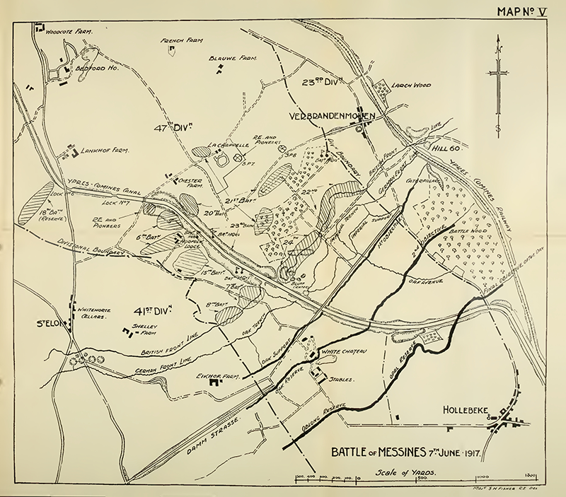 Map of the Battle of Messines Ridge 7th June 1917