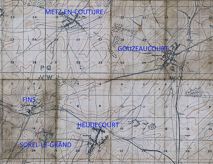 Map of the area around Fins, Gouzeaucourt, Metz-en_couture