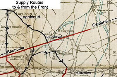 Map of the area around Louverval in January 1918