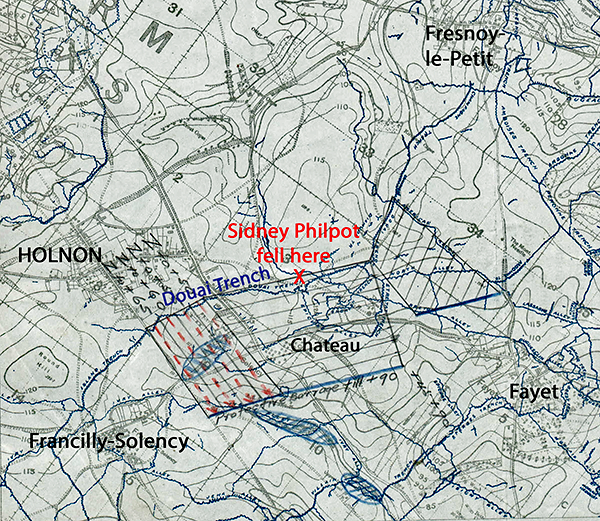 Map showing where Sidney Philpot fell outside Holnon in Douai Trench
