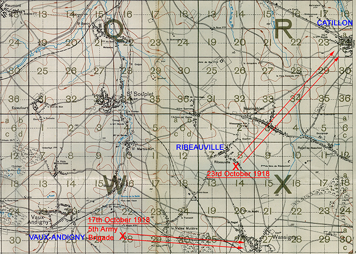 Map showing the front at Vaux-Andigny and Ribeauvilles