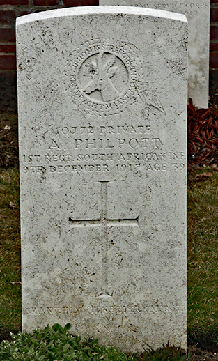 Headstone for Arthur Philpott of South African forces