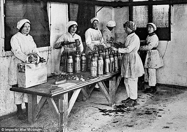 Women as Munitions Workers filling shells with explosive