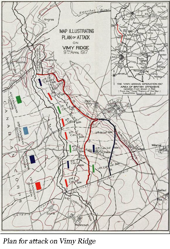 Map showing the Plan of Attack on Vimy Ridge