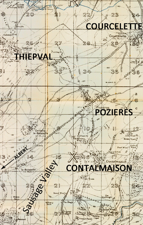Map of the Pozieres, Contalmaison,  Sausage Valley