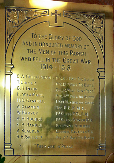 War Memorial Plaque in Bapchild Church of St Laurence