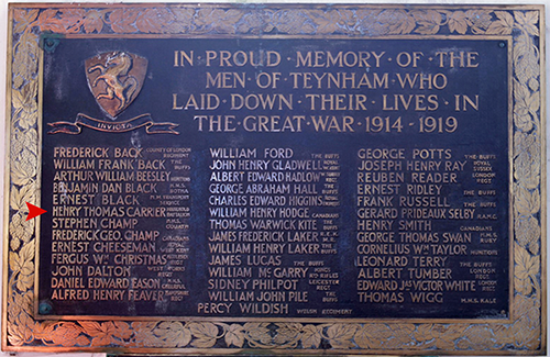 Teynham Memorial plaque indicating  Henry Thomas Carrier