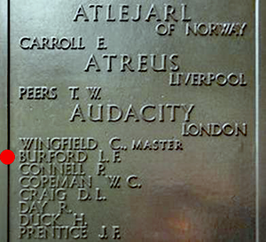 Plaque showing the name of Leslie Frank Burford