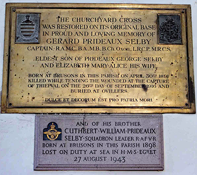 Memorial Plaque for Cuthbert William Prideaux Selby in Teynham Church